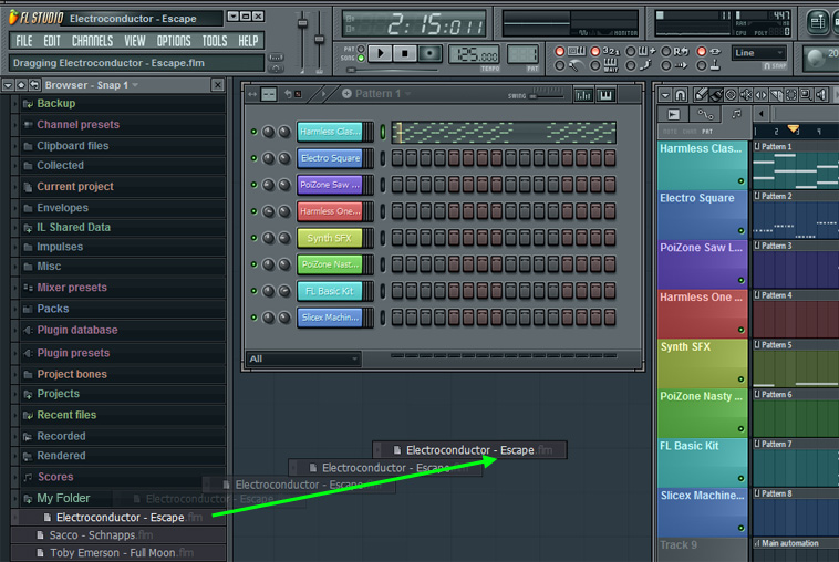 Drop .flm projects on the FL Studio desktop to import