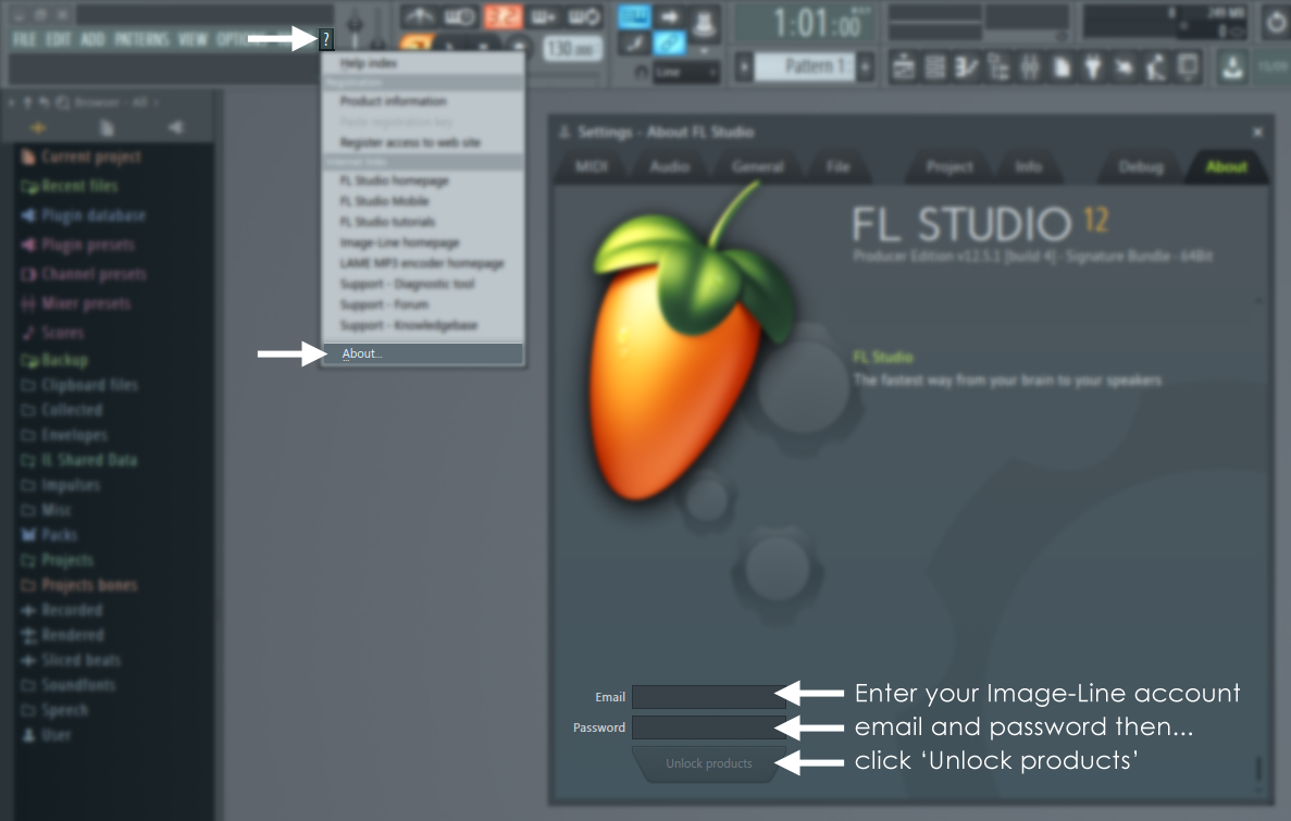 Registration: How to unlock or update FL Studio from the 'About' screen (Knowledge Base)